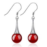 agate drop earrings - 30 Sterling Silver Natural Agate Drop Dangle Earrings Long Section Earrings Korean Fashion Women Stud Earrings Wedding Jewelry