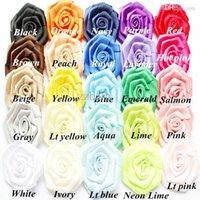 Wholesale Crochet quot ribbon rose flower Satin flower Multilayer Rose flower for Baby Girl Headbands Hair Accessories