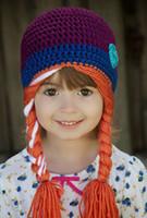 50pcs Wholesale 2015 nueva ganchillo ElsaAnna sombrero invierno sombrero para niños niña talla por trajes 2-7T