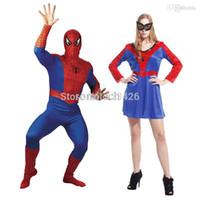 Wholesale Halloween Cosplay Spiderman Costumes Sets Adult Man Women Disfraces Carnival Costume Vestido Pelicula Homem Aranha