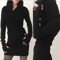 cotton tunic - Women Hooded Hoody Sweatshirt Ladies Bodycon Hoodies Pullover Tunic Jumper Mini Dress
