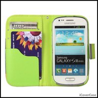 Cheap For i8190 Multicolor PU Leather Stand Wallet Case Cover for Samsung Galaxy S3 Mini i8190 with Lanyard