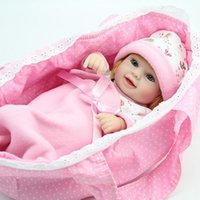 Wholesale Hot Mini Reborn Baby Doll inch Vinyl Baby Alive Toys Girls Gift Basket Pillow Blankets Outfit
