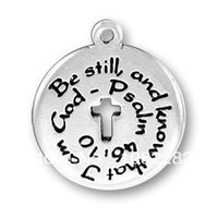 antique stills - Be still and know that I am god message round Charm antique silver plated a