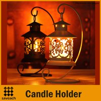 Wholesale Iron Moroccan Style Candlestick Hollow Candleholder Candle Tea Light Holder Decor Colors Black White Candle holder