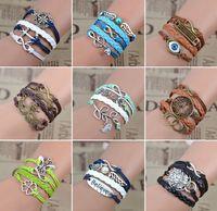 arrow left - Women infinity leather charm bracelet leaves arrow wing peal mask lion best friends time