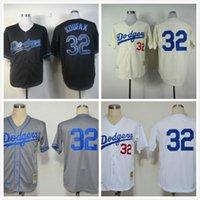 los angeles - 2013 Baseball jersey Men s Los Angeles Sandy Koufax White grey cream jerseys Embroiderey Logo size
