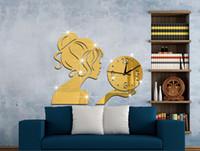 Wholesale 2015 New Beauty Girl D Mirror Wall Clock Modern Design Decorative Mirror Wall Clocks Stciker Kids Watch Wall Living Room
