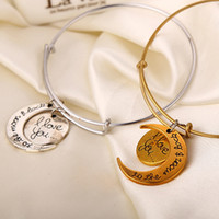 Wholesale 2016 New Arrival Hot Selling Famous Alex And Ani Bracelets I Love You To The Moon And Back Letter Pendant Bangles ZJ