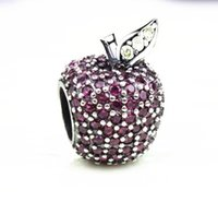 Wholesale Rhinestone Apple Pandora Charms Ale Sterling Silver Diy Bead Fashion Jewelry Fit European Beads Blacelets Women Pendent