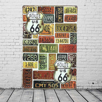 Wholesale U S Route Car License Plates Vintage Tin Sign Bar Pub Home Wall Decor Retro Metal Painting Plaque