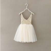 baby departments - baby clothing new Girls sequined veil stitching Department neck straps Kids summer girls lace sequined harness children dresses
