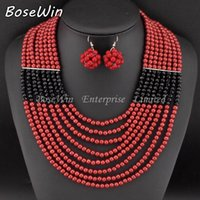 black bead necklace set - 2015 African Jewelry Set Fashion Accessories Glass Beads Crystal Necklaces Matching Drop Earrings Jewelry Sets Women Wedding