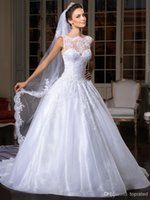 beads center - 2015 New Arrival Jewel Center Novias Lace Appliques Ball Gown Wedding Dresses Elegant crystal Beaded White SweepTrain for Brides Wedding
