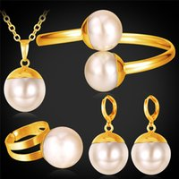 Gift costume jewellery set - 18K Real Gold Plated Big Beads Costume Jewelry Sets Gorgeous Cuff Bangle Set For Women New Fashion Jewellery