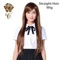 Cheap Cheap Synthetic Wigs Lace Front Wigs For Lady Beautiful Sexy Long Straight With Deep Brown High Quality Wigs