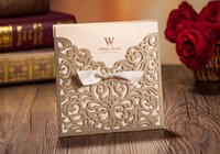 Wholesale Golden Wedding Invitations Hollow Foil Stamping Uneven Ribbon Wedding Gift Lace Free Printable Cards Wedding Favors