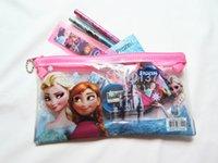 Wholesale 24Sets FROZEN Stationery Set Pencil case Ruler Sharpener Eraser School Supplies Elsa Anna Cartoon Girls Children Kid Favor Gift