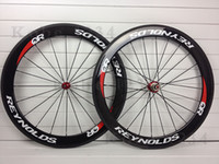 Wholesale REYNOLD QR T800 Carbon wheels clincher Tubular wheelset mm white red decals carbon road bike wheels Novatec hubs shipping