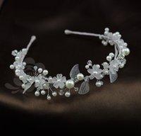 Cheap Cheap !!2014 Fashion Wedding Bridal Tiaras Hair Accessories Stunning Pearls Handmade Flowers Wedding Hair Clasp Headband Bridal Jewelry