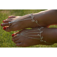 Cheap Bridal Crystal Barefoot Sandal Foot Jewelry Ankle Bracelet Toe Ring Beach Gift