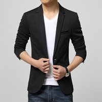 Wholesale 2015 New Arrival Mens Casual Blazer Jackets khaki korean blazer Men Slim Fit Blazers Jacket for boys soild blazer masculino Sale