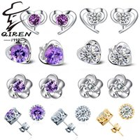 Wholesale 925 silver earrings natural crystal stud earrings crown fashion small sterling silver jewelry for women