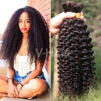 Wholesale Hot Sale Kinky Curly Human Hair Bulk No Weft Unprocessed Brazilian Peruvian Malaysian Indian Mongolian Human Hair Bulks