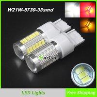 Cheap W21W LED Head Fog Lights Bulbs 5730 33SMD T20 Tail Rear Brake Lamp, 12V 7440 Car DRL Daytime Driving Light White Red Yellow