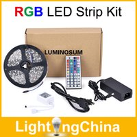 SMD 5050 advertisement box - LUMINOSUM LED Strip Light RGB M LED Strips Waterproof With Keys IR Remote Controller DC12V5A Power Adapter In Retail Box