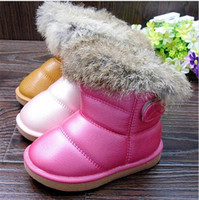 Wholesale Real Rubbit fur children s snow boots EU21 kids girls warm plush waterproof winter soft rubber outsole