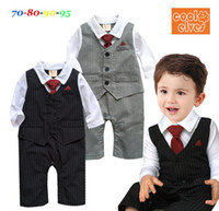 Wholesale New Arrival Custom made Newborn Long sleeve gentleman Bow tie baby rompers boys jumpsuits infant clothes Baby One Piece Romper
