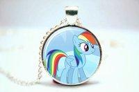 american dash - 10pcs Rainbow Dash My Little Necklace Glass Photo Cabochon Necklace