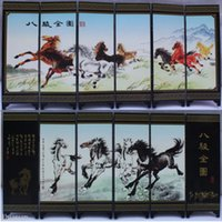 Wholesale Chinese Handmade Vintage Eight Horses Wooden Lacquer Six Pieces Folding Screen