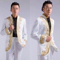 Cheap 2015 Hot Sale Groom Tuxedo Suits Gold Embroidery Applique White Men's Clothing White Men Suit Men Suits For Wedding Men Gold Suits