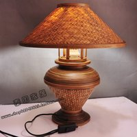 asian bedside tables - Thailand imported bamboo Southeast Asian style table lamp bedroom bedside lamp creative fashion simple manual lamp