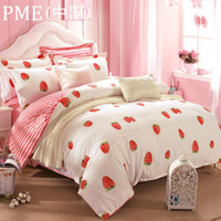 Cheap Wholesale-Reactive printing Strawberry queen size home textile bedding sets with reversible duvet cover flat sheet pillowsham bed set 4pc