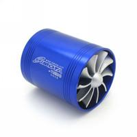 Cheap Universal Dual Supercharger Turbo Turbonator Air Intake Fan Fuel Gas Saver Fan Blue Free Shipping order<$18no track