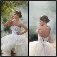 corset high low wedding gowns - Lace Ball Gown Wedding Dresses Bridal High Low Princess Tulle Arabic Modest Wedding Gowns Arabic New Hot Corset Back
