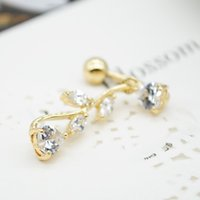 Wholesale Belly Button Navel Rings Sexy Women Navel Ring Dangle Leaf Body Jewelry Piercing PSS0216