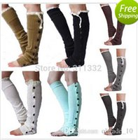 Wholesale 2014 colors christmas Long solid button down Lace Knitted Leg Warmers Boot Stocking Socks Boot Covers Leggings Tight topb496 pairs