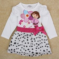 Wholesale Kids Dora the Explorer Dot Puff Girls long sleeved dress H5070
