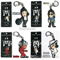 bag of charms - Set of Michael Jackson King of Pop MJ Smooth Criminal Billie Jean Thriller History Key Chain Ring Phone Charm Bag Tag