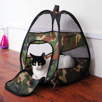 Wholesale Camouflage Pet Cats Tent with Mat Summer House Bed Cages Pop up Foldable and Portable Tents Kennel for Kitten Kitty