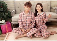 Wholesale Spring autumn women man couple pajamas sets plaid printing long sleeve long pants sleepwear women s fashion casual homewear woman clothing