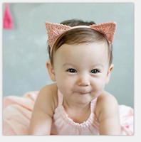 venda por atacado enfeites de cabelo-Cabelo do bebê ornamentos desenhos animados orelha bonito do gato Headbands Girl Fashion Headwear F0196