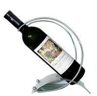 wine rack stainless steel - European style creative Stainless Steel arc shaped red wine rack metal wine bottle holders