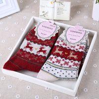 Wholesale Pair Cute New Christmas Popular Style Reindeer Snowflake Tree Pattern Long Socks Warm for Women s Girls Autumn Winter