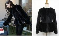 al por mayor chaqueta negro oscilación-2015 Spring Warm Luxury Quality Overcoats faldas de las mujeres de piel de conejo de conejo elegante swing flounced negro chaqueta de cuero hierba L656