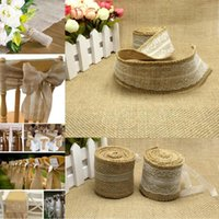Wholesale 5 Rolls Width Natural Pure White Lace Hessian Burlap Ribbon for Wedding Event Party Gift Wrapping Decoration Product M